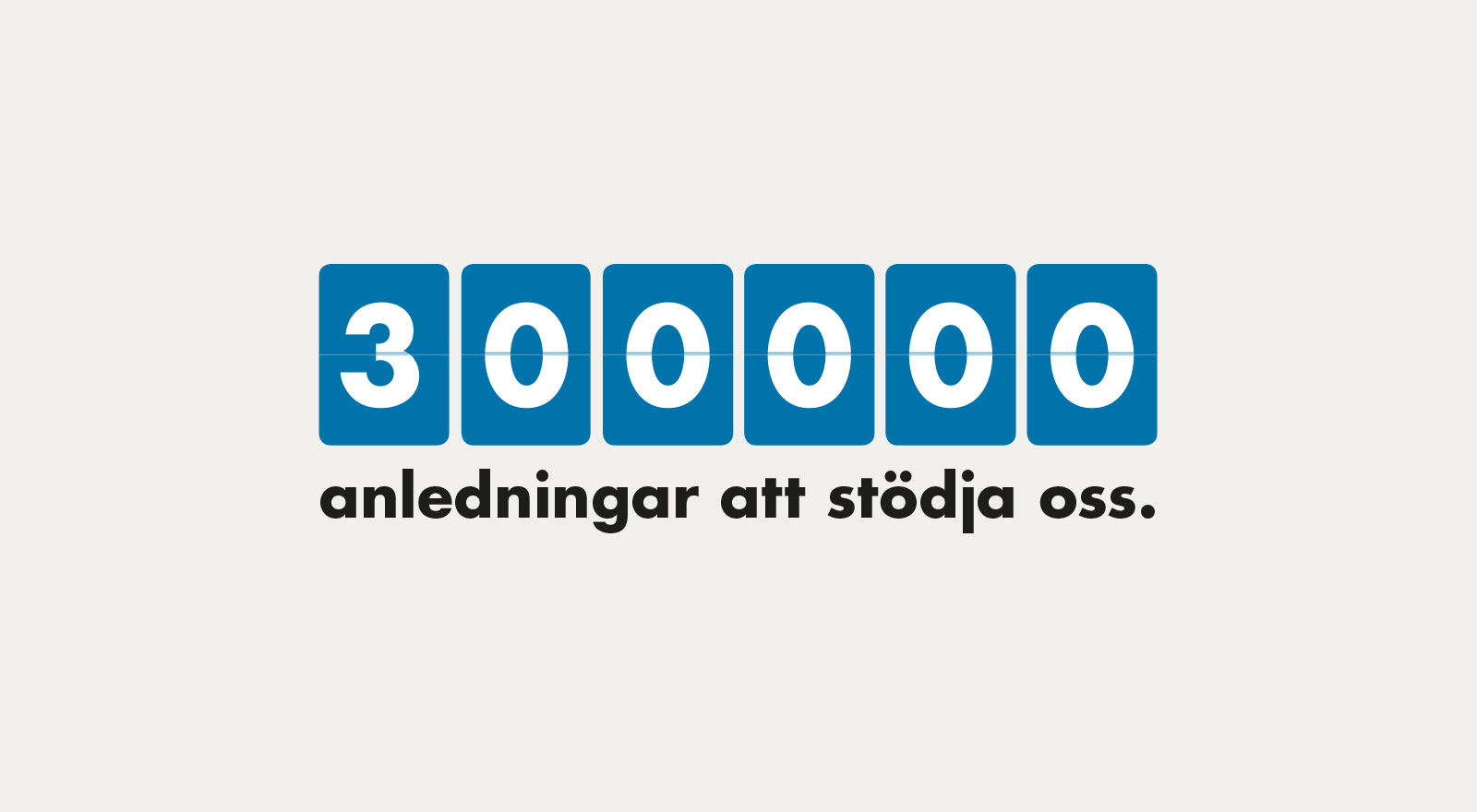 300 000 anledningar att stödja oss